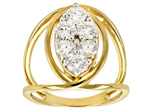 Moissanite 14k Yellow Gold Over Silver Ring 1.38ctw DEW.