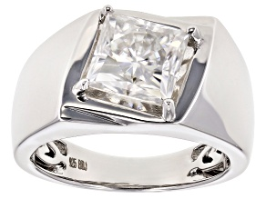 Moissanite Platineve Mens Ring 2.50ctw DEW.