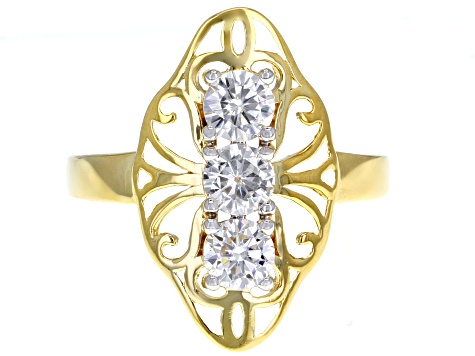 Moissanite 14k Yellow Gold Over Silver Ring .99ctw DEW