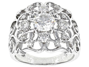 Moissanite Platineve Ring 1.56ctw DEW.