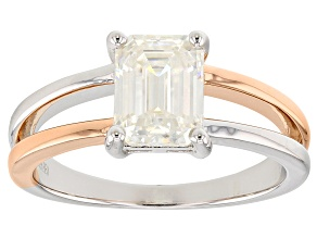 Moissanite Platineve And 14k Rose Gold Over Platineve ring 1.75ct DEW.