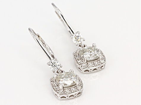 Moissanite Platineve Earrings 2.70ctw DEW.