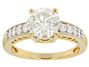 Moissanite 14k Yellow Gold Over Silver Ring 2.10 ctw DEW.