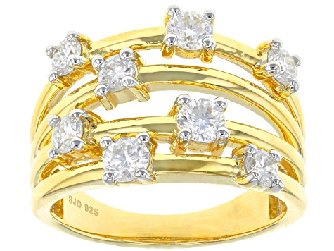 Moissanite 14k yellow gold over silver ring .98ctw DEW.
