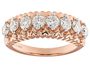 Moissanite 14k rose gold over silver ring 1.04ctw DEW.