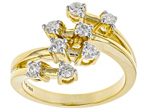 Moissanite 14k yellow gold over silver ring .48ctw DEW.