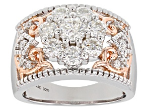 Moissanite Platineve And 14k Rose Gold Over Platineve Ring 1.57ctw D.E.W