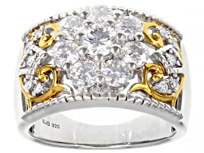 Moissanite Platineve And 14k Yellow Gold Over Platineve Ring 1.57ctw D.E.W