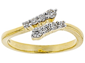 Moissanite 14k yellow gold over silver ring .28ctw DEW.