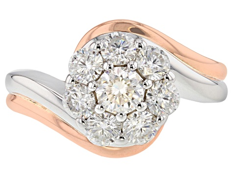 Moissanite Platineve And 14k Rose Gold Over Platineve Ring 1.45ctw D.E.W