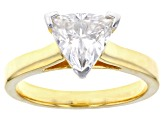 Moissanite 14k yellow gold over silver ring 1.60ct DEW.