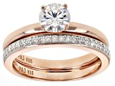 Moissanite 14k Rose Gold Over Silver Ring With Band 1.01ctw DEW