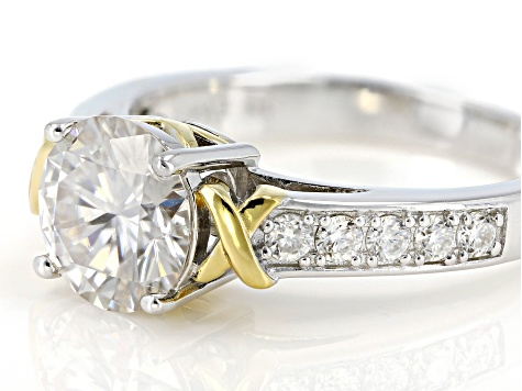 Moissanite Platineve And 14k Yellow Gold Over Platineve Ring 2.20ctw DEW