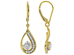 Moissanite 14k yellow gold over silver earrings .90ctw DEW.