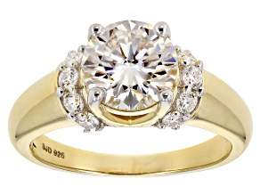 Moissanite 14k yellow gold over silver ring 2.20ctw DEW.