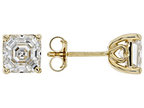 Moissanite 14k Yellow Gold Stud Earrings 3.00ctw DEW.
