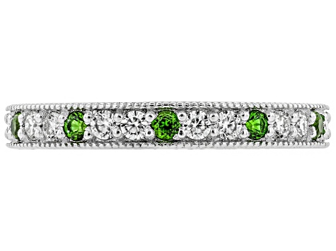 Moissanite And Chrome Diopside Platineve Ring .30ctw DEW.