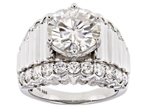 Moissanite Platineve Ring 4.92ctw DEW.