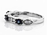 Moissanite And Blue Sapphire Platineve Ring .16ctw DEW.