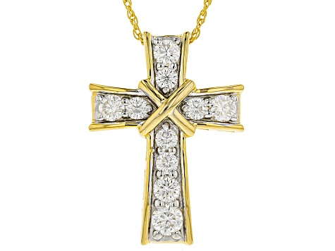 Moissanite 14k Yellow Gold Over Silver Pendant .86ctw DEW.
