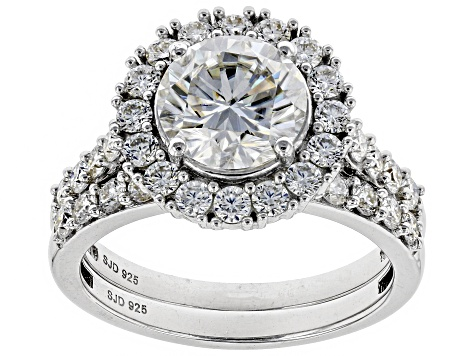 Moissanite Platineve Ring And Band 2.98ctw DEW