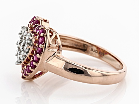 Moissanite And Ruby 14k Rose Gold Over Silver Ring .27ctw DEW