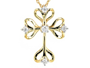 Moissanite 14k Yellow Gold Over Silver Pendant .37ctw DEW.