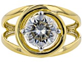Moissanite 14k Yellow Gold Over Silver Ring 1.90ct DEW.