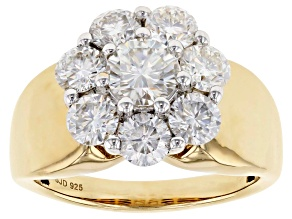 Moissanite 14k yellow gold over sterling silver ring 2.21ctw DEW.
