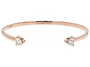 Moissanite 14k Rose Gold Over Silver Bangle Bracelet 1.60ctw DEW