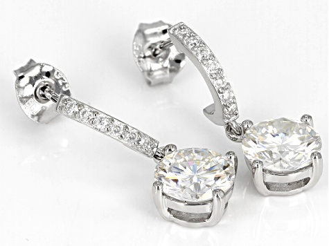 MOissanite Platineve Earrings 2.54ctw DEW