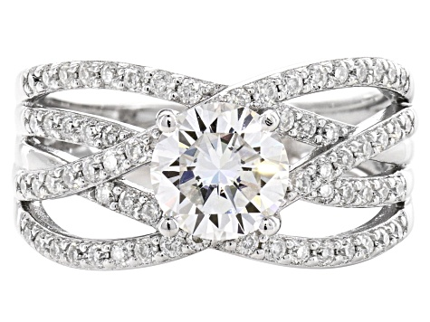Moissanite Platineve Ring 1.84ctw DEW