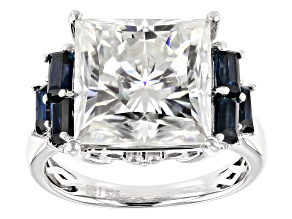 Moissanite And Blue Sapphire Ring 9.21ctw DEW