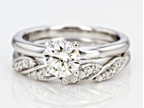 Moissanite Platineve Ring With Band 1.20ctw DEW