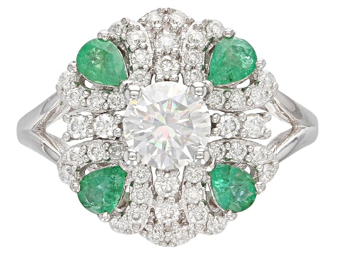 Moissanite And Emerald Platineve Ring 1.32ctw DEW