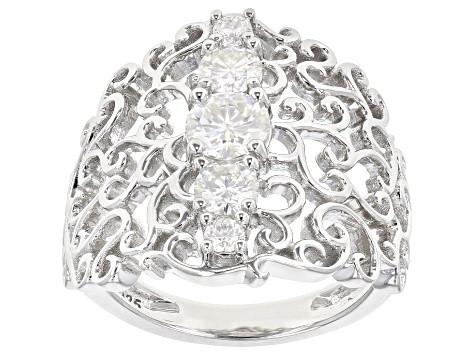 Moissanite Platineve Ring 1.18ctw DEW