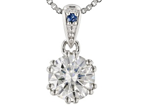 Moissanite And Blue Sapphire Platineve Pendant 1.00ct DEW