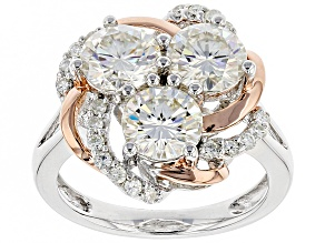Moissanite Platineve And 14k Rose Gold Silver Ring 3.24ctw D.E.W