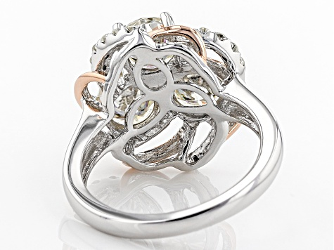 Moissanite Platineve And 14k Rose Gold Over Platineve Ring 3.24ctw D.E.W