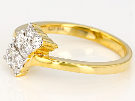 Moissanite 14K Yellow Gold Over Silver Ring .48ctw D.E.W
