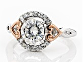 Moissanite Platineve And 14k Rose Gold Over Platineve Ring 1.34ctw DEW.