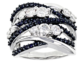 Moissanite And Blue Sapphire Platineve Ring 1.30 ctw DEW