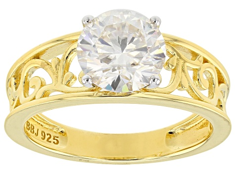Moissanite 14k Yellow Gold Over Silver Ring 1.90ct DEW