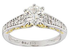 Moissanite Platineve And 14k Yellow Gold Platineve Ring 1.28ctw DEW.