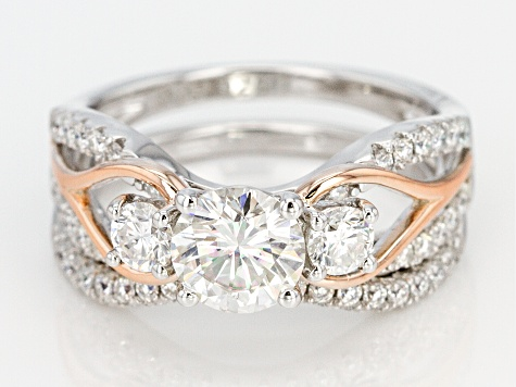 Moissanite Platineve And 14k Rose Gold Platineve Ring with Band 1.78ctw DEW.