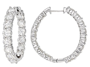 Moissanite Platineve Hoop Earrings 9.24ctw DEW.
