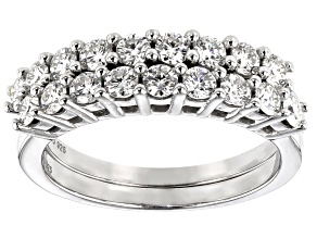 Moissanite Platineve Band Ring Set of Two 1.08ctw DEW.