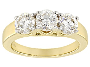 Moissanite 14k Yellow Gold Over Silver Ring 1.80ctw DEW.