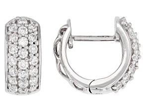 Moissanite Platineve Hoop Earrings .88ctw DEW.