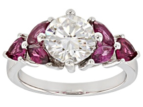 Moissanite And Rhodolite Garnet Platineve Ring 1.90ct DEW